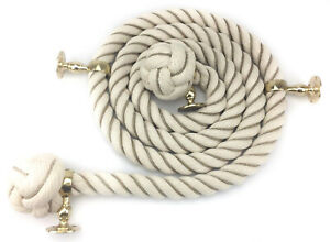 Natural Cotton Wormed Bannister Rope - Choose Diameter Length & Fittings