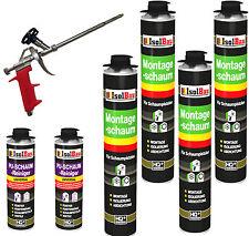 SET Pistolenschaum 4 x 750 ml + 1  Metall Schaumpistole + 2 Reiniger Bauschaum