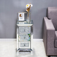 Modern Mirrored Diamond Glass 3 Drawers Bedside Cabinet Table Bedroom Furniture