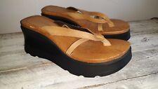 Vintage Candie's Wood Leather Platform Sandal Open Toe Size 10 Made in Brazil