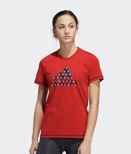 NWT ADIDAS~ WOMENS SCARLET RED AMERICANA TEE 1X NEW