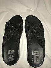 FitFlop Twiss Slide Sandal Crystal Embellished Black Comfort 7 EU 38