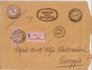 ITALY 1916 REGISTERED COVER FROM ROMA MINISTRY OF WAR TAXED TO VIAREGGIO