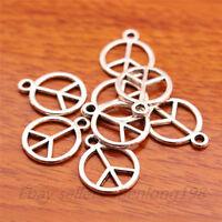 100pcs 15*12mm Peace Sign Charms Tibetan Silver Jewelry pendant Necklace E7028