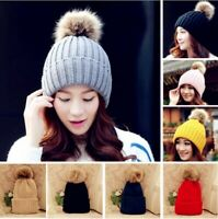 2018 Women Lady Warm Fur Knitted Winter Hat Pom Bobble Baggy Crochet Beanie