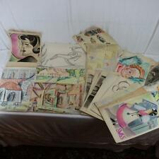 Art Deco 1930s Drawings (21) Watercolor, Pastel, Charcoal Paintings Estate Find