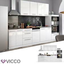 Vicco Küche FAME-LINE Küchenzeile Einbauküche Küchenblock 295cm Weiß Hochglanz