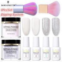 8Pcs/Set BORN PRETTY Nail Art Dipping Glitter Powder System Liquid Brushes