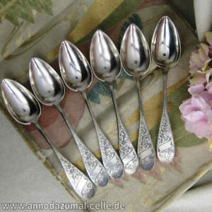 6 Beautiful Engraved Art Nouveau Soup Spoon IN 800 Silver