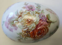 New Authentic Limoges - Signed Porcelain Hand Painted Egg Shaped Trinket Box ...