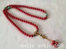 Chinese tibetan Buddhism Red Bodhi Dzi Prayer beads Bracelets Pendant Necklace