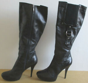 Guess Hearne Black Leather Knee High Stiletto Heel Platform Boots Zip Size 9.5 M