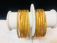 India Traditional Gold Plated Bangles Wedding Party Wear Indian Chudi Size 2.8 .