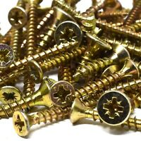 200g 'MIXED IN THE PACK' OF TIMCO YELLOW WAXED MULTI PURPOSE POZI WOOD SCREWS
