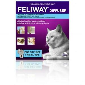 NEW Feliway Odourless Pheromone Stress Reliever Vial Diffuser for Cats 48mL