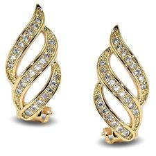 Elegant 18ct Gold Filled Clip-On Simulated White Diamond Earrings Womens Ladies