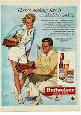 1950 Budweiser Beer couple on tennis court Howard Forsberg artist Vintage Print