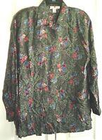 Vintage Silk Shirt Top Floral  NWOT ~ Vintage 80's Tunic Length
