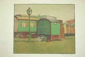"""MAX ZACHMANN Heidelberg 1892-1917 Expressionismus Lithographie """"Zirkus"""" handsig."""