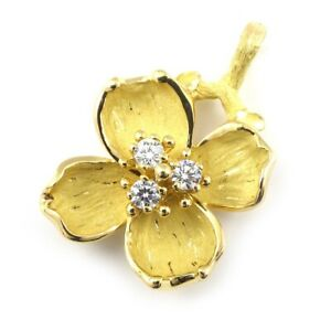 Auth Tiffany & Co. Pendant Top Flower Motif 3 Point Diamond 750(18K) Yellow Gold