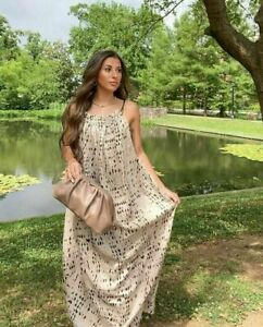 H&M CONSCIOUS SS2021 LYOCELL BLEND PATTERNED HALTER MAXI DRESS BLOGGERS FAVORITE