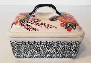 Geschenk Unikat Butterdose aus Bunzlauer Keramik für 250 Gramm Butter ne3206