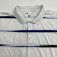 Croft & Barrow Performance Polo Shirt Men's 2XL XXL Short Sleeve White Striped
