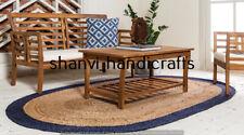 Handmade Natural Braided Oval Rugs Jute 180x270 CM Rags Home Decor Floor Carpets