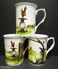 Set Of 3 Ewe Tree Sheep Fine Bone China Mugs Cups Beakers