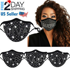 Rhinestone Face Mask Bling Crystal Fancy Going Out Glitter Reusable Face Cover