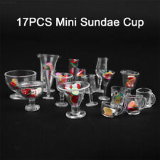 DE25 Plastic Diningroom Small Dollhouse Miniature Cups 17pcs/Set Clay Containers