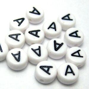 """500 White with Black Acrylic Alphabet Letter """"A"""" Coin Beads 4X7mm"""