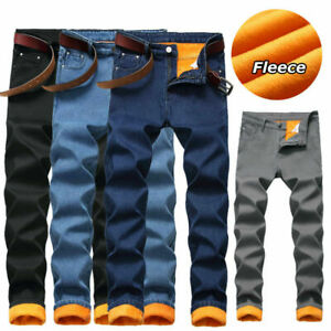 Men's Fleece Lined Denim Winter Thermal Jeans Pant Stretch Straight Leg Trousers