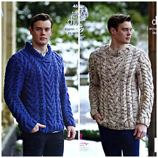 Knitting pattern Mens ROLL o scollo tondo maglione CAVO SUPER PESANTE kingcole 4616