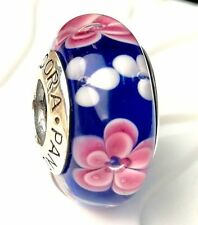 NEW Authentic Pandora 925 silver murano bead charm glass pink white blue blossom