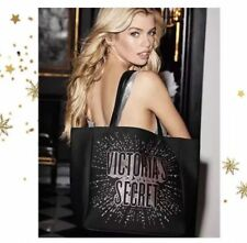 VICTORIA'S SECRET LIMITED EDITION BLACK LOGO LOVE STAR CELESTIAL TOTE BAG