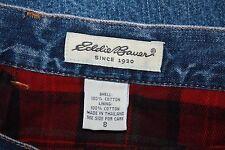 EDDIE BAUER Sz 8 BLUE Denim LONG Skirt - RED Plaid Flannel Lining
