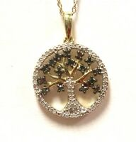 "New 10k yellow gold .20ct green diamond tree of life pendant 18"" necklace 2.1g"