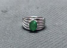 925 Silver Emerald Statement Ring 7x9 mm Oval 2.5 Ct Emerald Mens Ring