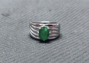 Sterling Silver Emerald Statement Ring 7x9 mm Oval 2.5 Ct emerald Mens ring
