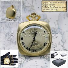 GOLD Antique Style SQUARE Men Fashion 1930s Pocket Watch Fob Chain Gift Box P196