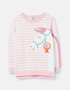 Joules Girls Geegee Intarsia Knit Jumper  - Pink Horse - 9Yr-10Yr
