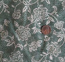 """Cranston Schwartz Liebman Fabric White Flower Lace Pattern on Green 58""""W  BTY"""
