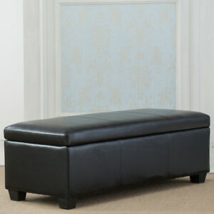 Contemporary Modern Faux Leather/Linen bedroom rectangular Storage Ottoman