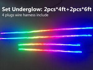 Sando 2pcs 4FT+2pcs 6.5FT Color Chasing Pedal Lights Strips Underglow Waterproof