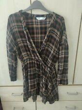 Zara Denim Brown Checked Tunic Top Size M
