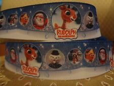"""5 yds 7/8""""-1"""" Grosgrain Ribbon Rudolph the red nosed reindeer Christmas FAST"""