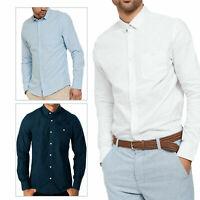 Threadbare Mens Butterbean Designer Long Sleeve Cotton Linen Mix Collared Shirt