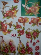 A4 Christmas 3D Paper Tole Apples Roses Mandolin NEW