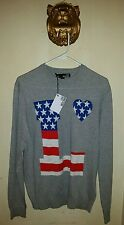 $440.00 LOVE MOSCHINO MEN'S CREW NECK Love Heart Sweater Cotton Size Small
